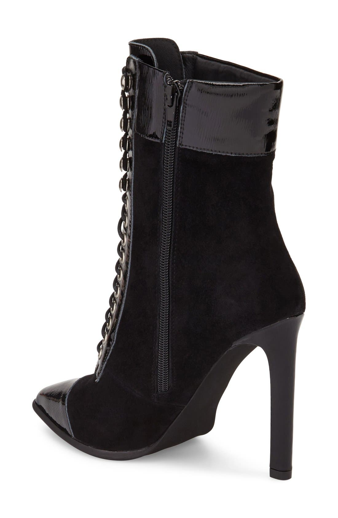 Elphie Pointy Toe Bootie,                             Alternate thumbnail 2, color,                             Black Suede