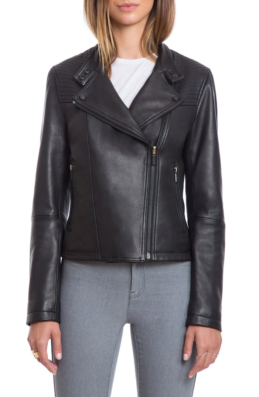 Bagatelle Quilted Lambskin Leather Moto Jacket,                         Main,                         color, Black