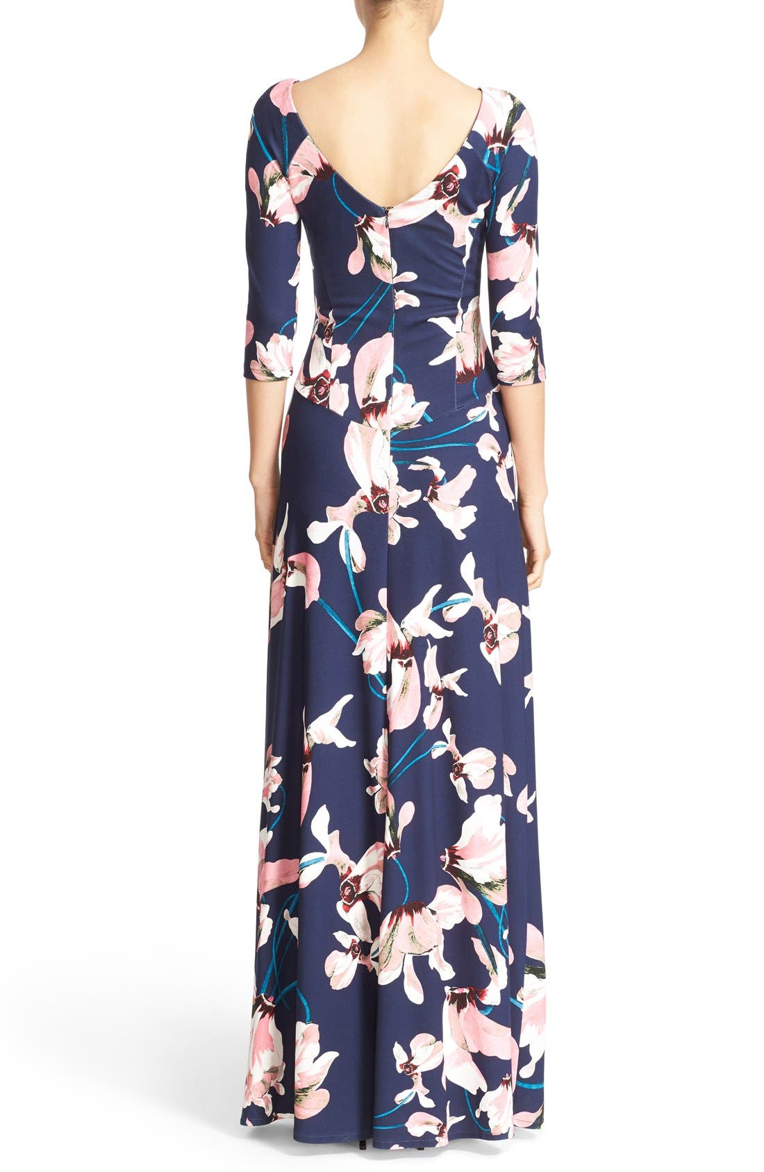 Valentina Floral Print Jersey Gown,                             Alternate thumbnail 2, color,                             Navy/ Pink