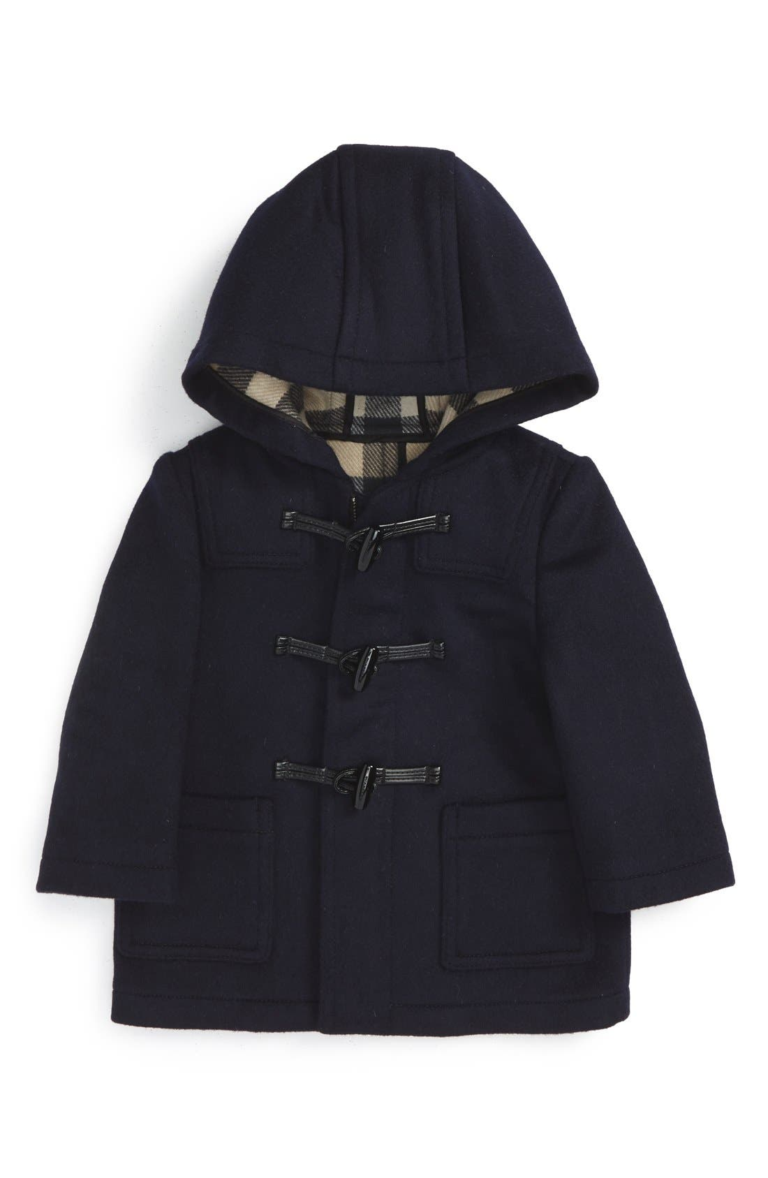 Alternate Image 1 Selected - Burberry Brogan Hooded Wool Toggle Coat (Baby Boys)
