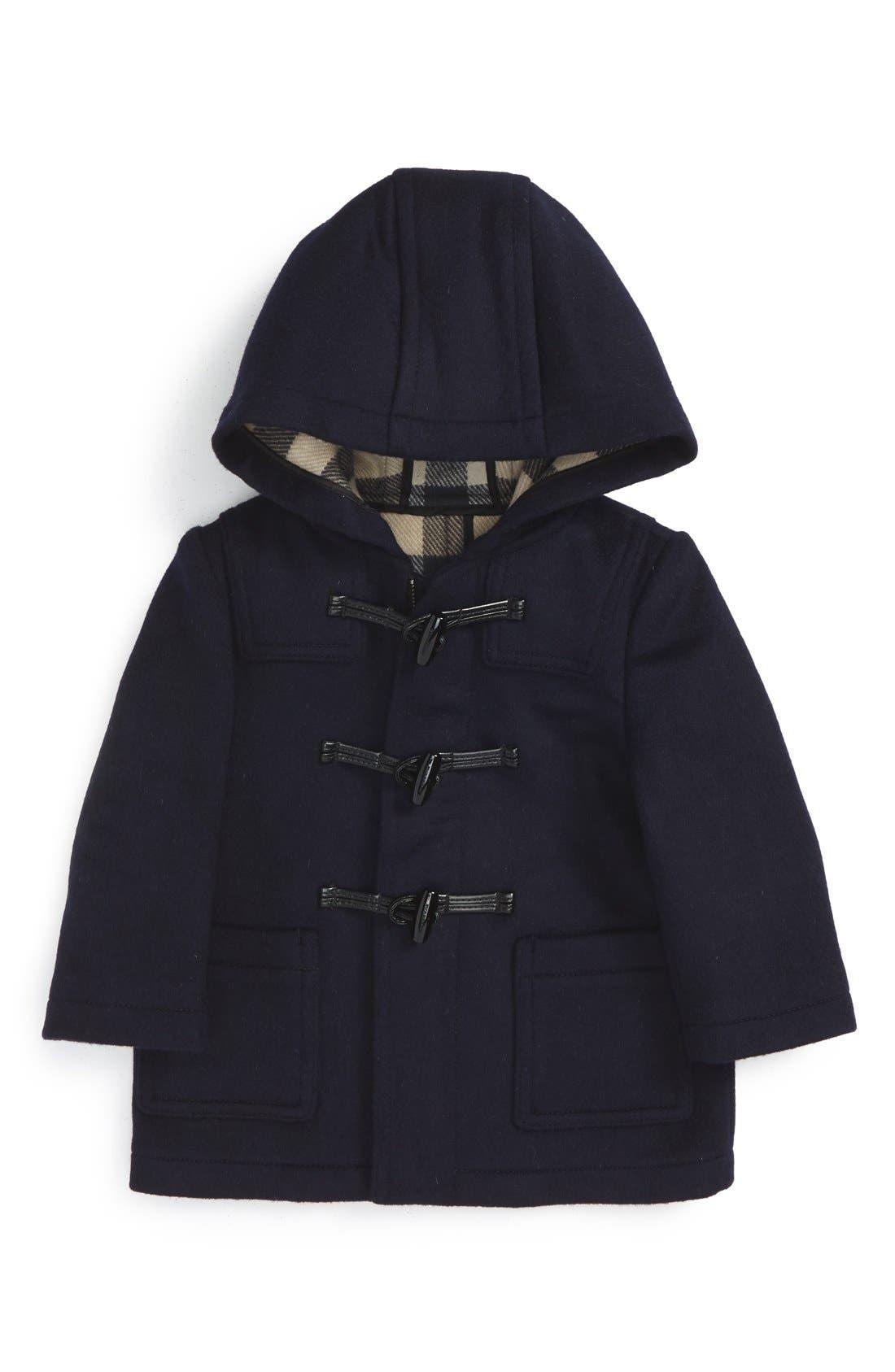 Brogan Hooded Wool Toggle Coat,                         Main,                         color, Dark Indigo
