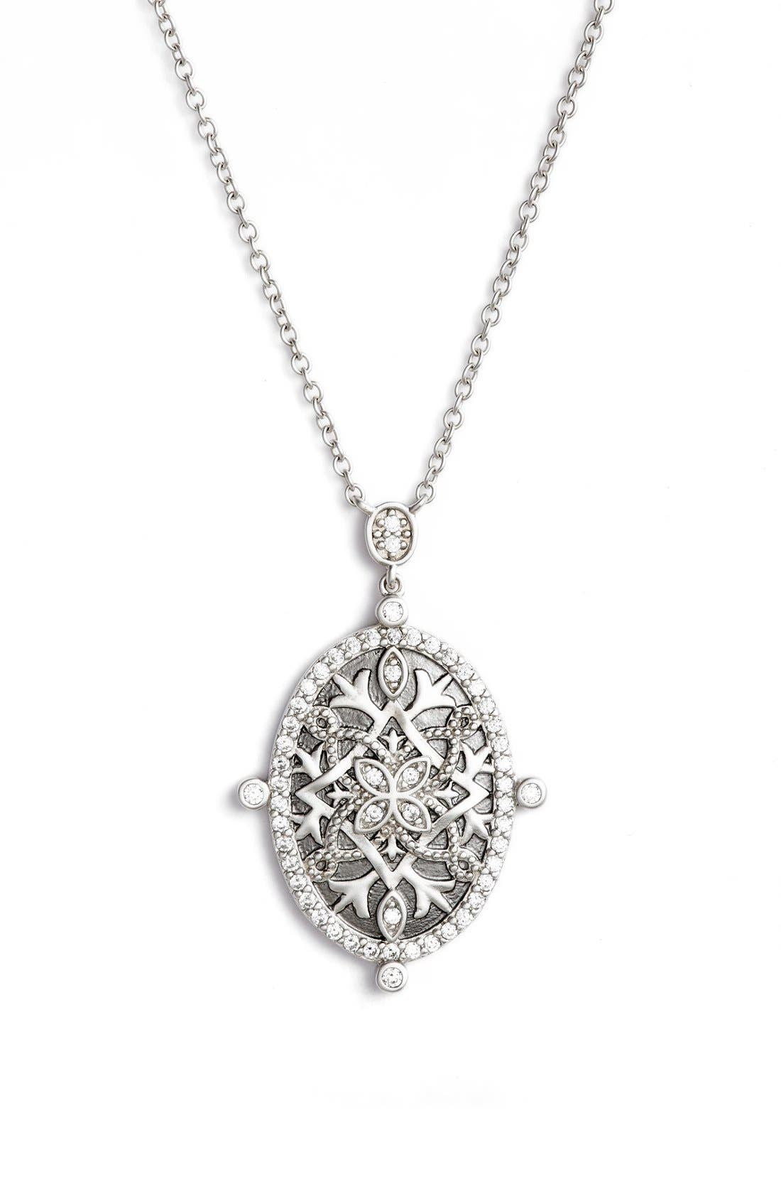 Contemporary Deco Celestial Pendant Necklace,                             Main thumbnail 1, color,                             Silver/ Black