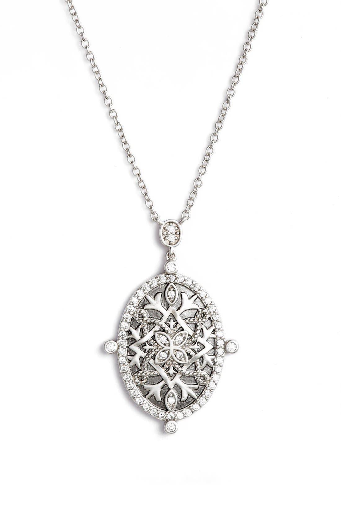 Contemporary Deco Celestial Pendant Necklace,                         Main,                         color, Silver/ Black