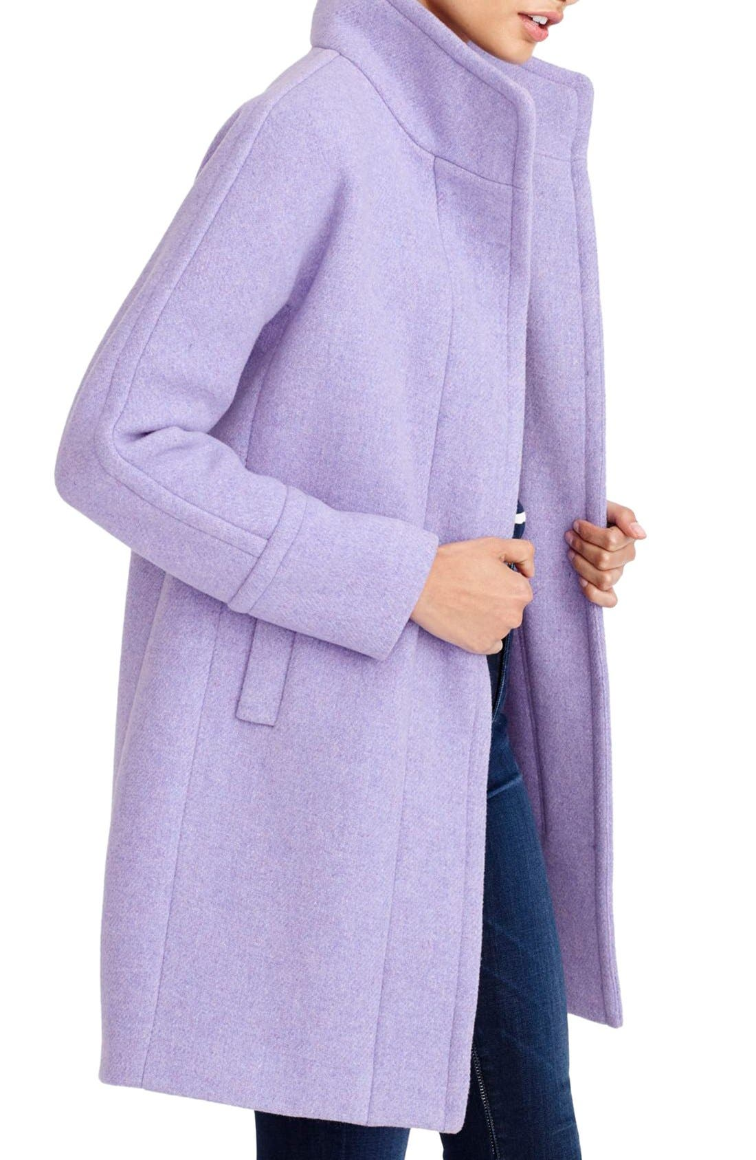 Stadium Cloth Cocoon Coat,                             Alternate thumbnail 2, color,                             Heather French Violet