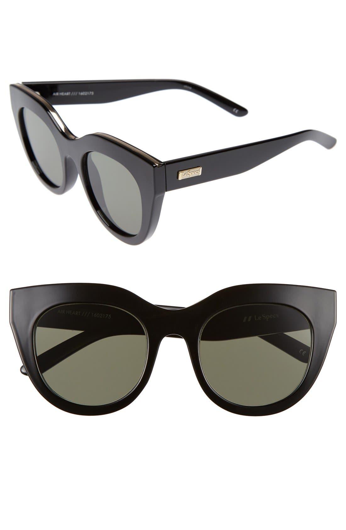 Air Heart 51mm Sunglasses,                         Main,                         color, Black/ Gold
