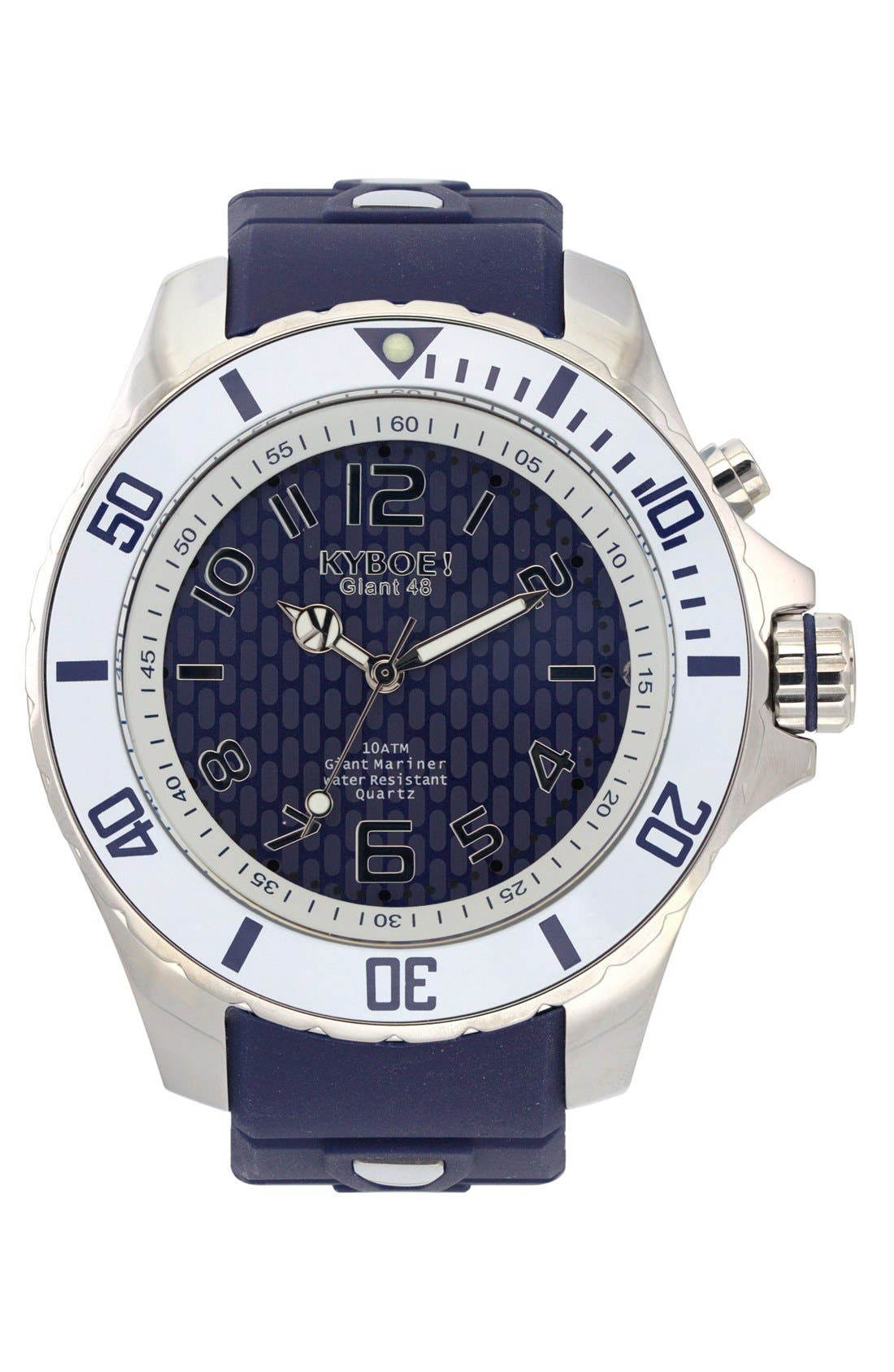 Power Silicone Strap Watch, 48mm,                         Main,                         color, Navy/ White