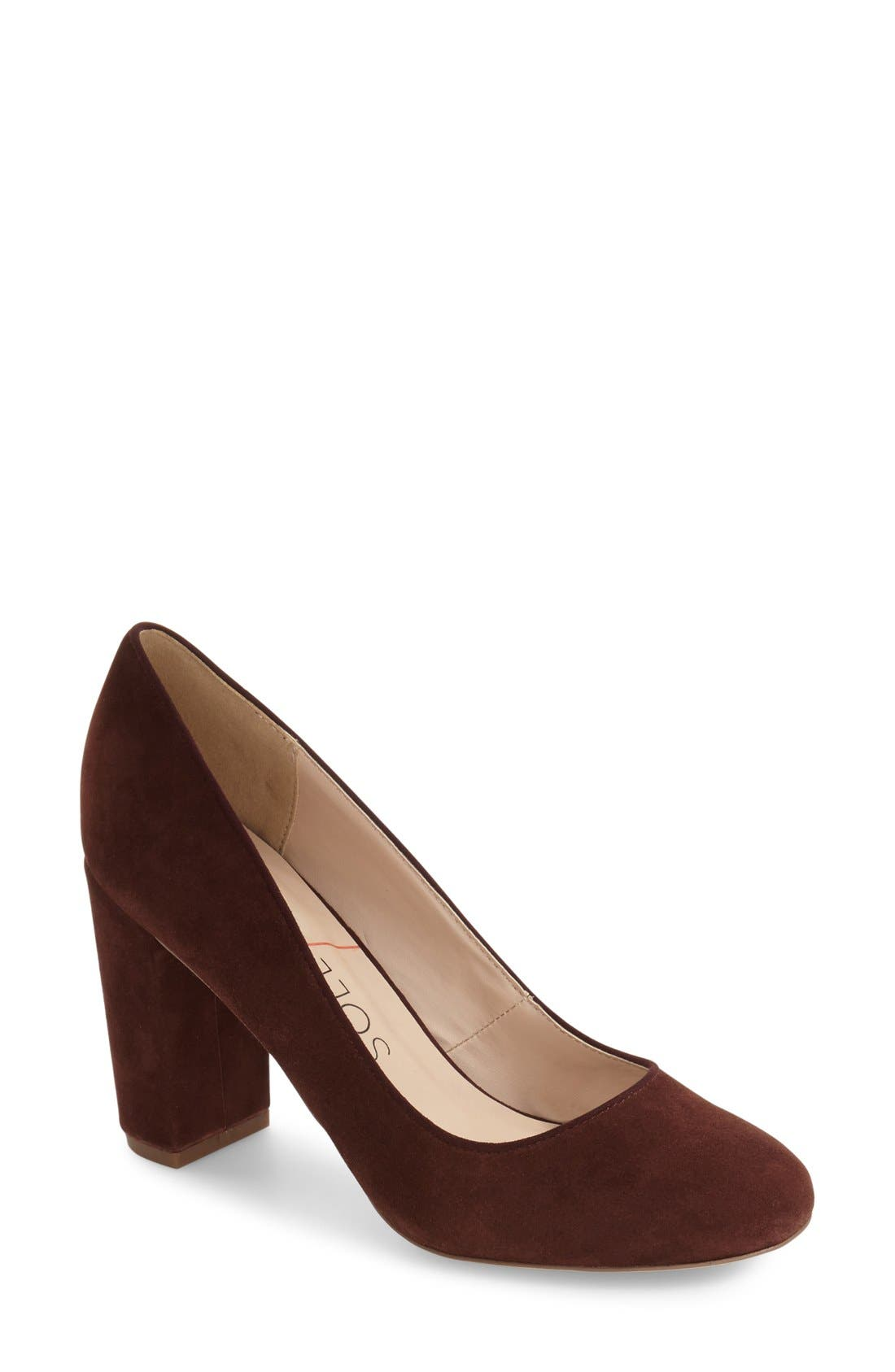 Giselle Block Heel Pump,                             Main thumbnail 1, color,                             Red Wine