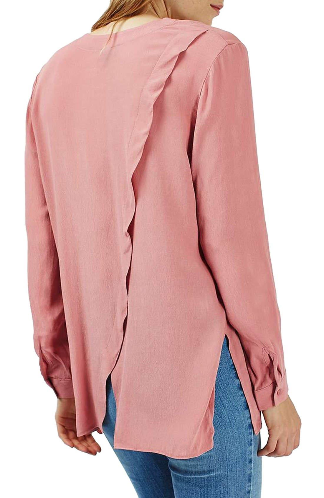 Alternate Image 3  - Topshop Slouchy Pocket Long Sleeve Blouse