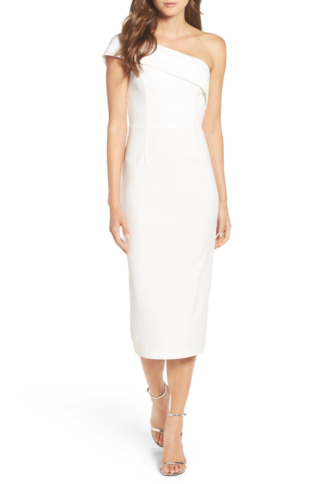 Main Image - Katie May One-Shoulder Midi Sheath Dress