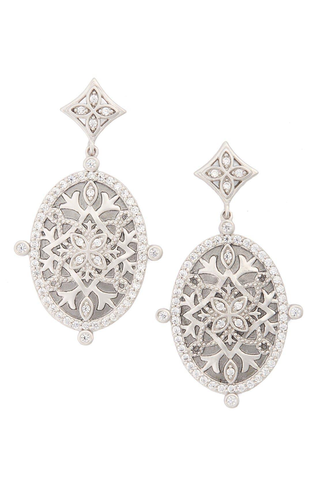 Contemporary Deco Drop Earrings,                         Main,                         color, Silver/ Gunmetal