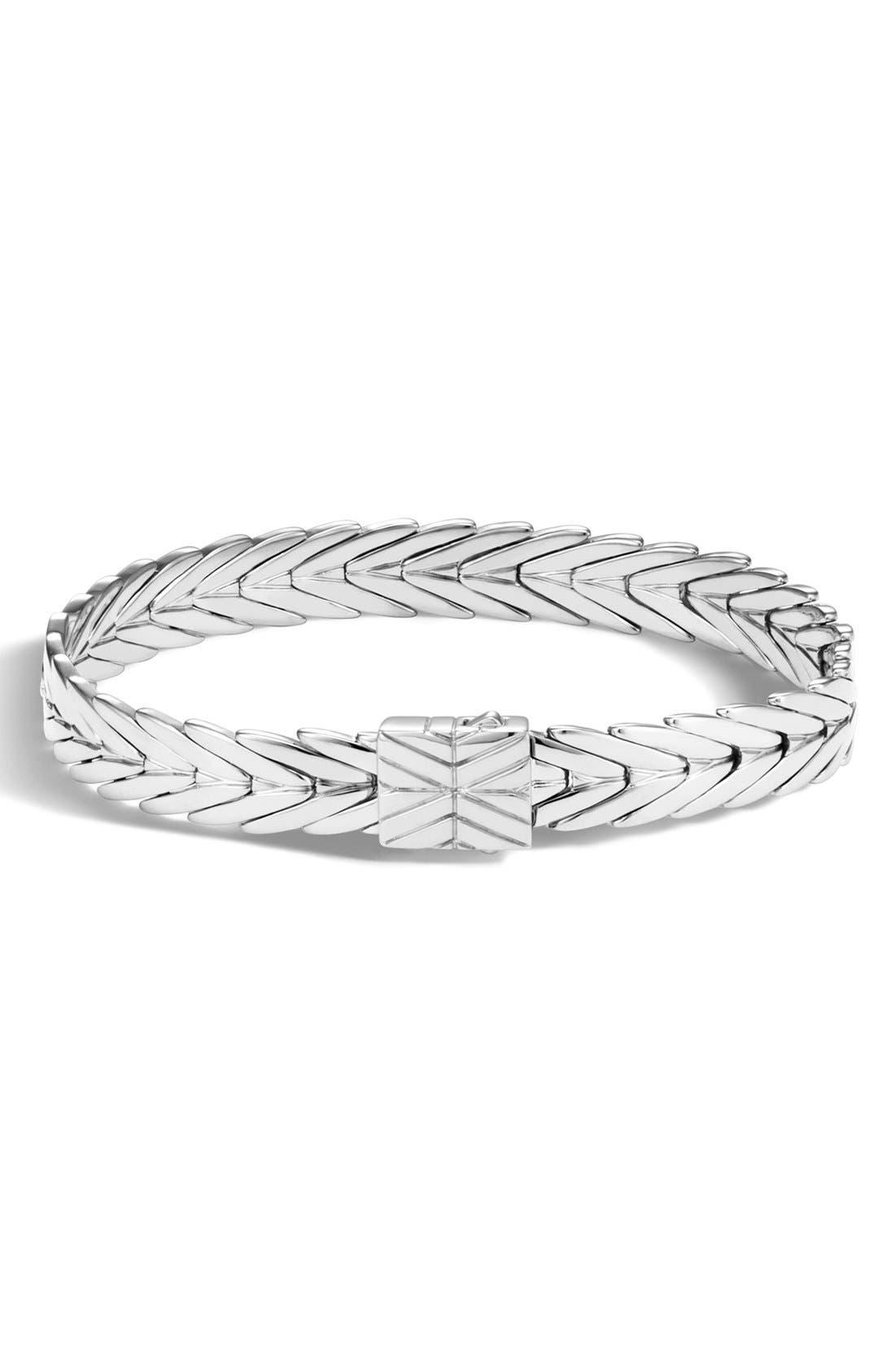 John Hardy Modern Chain Silver 13mm Rectangular Bracelet with Diamond Clasp, Size M