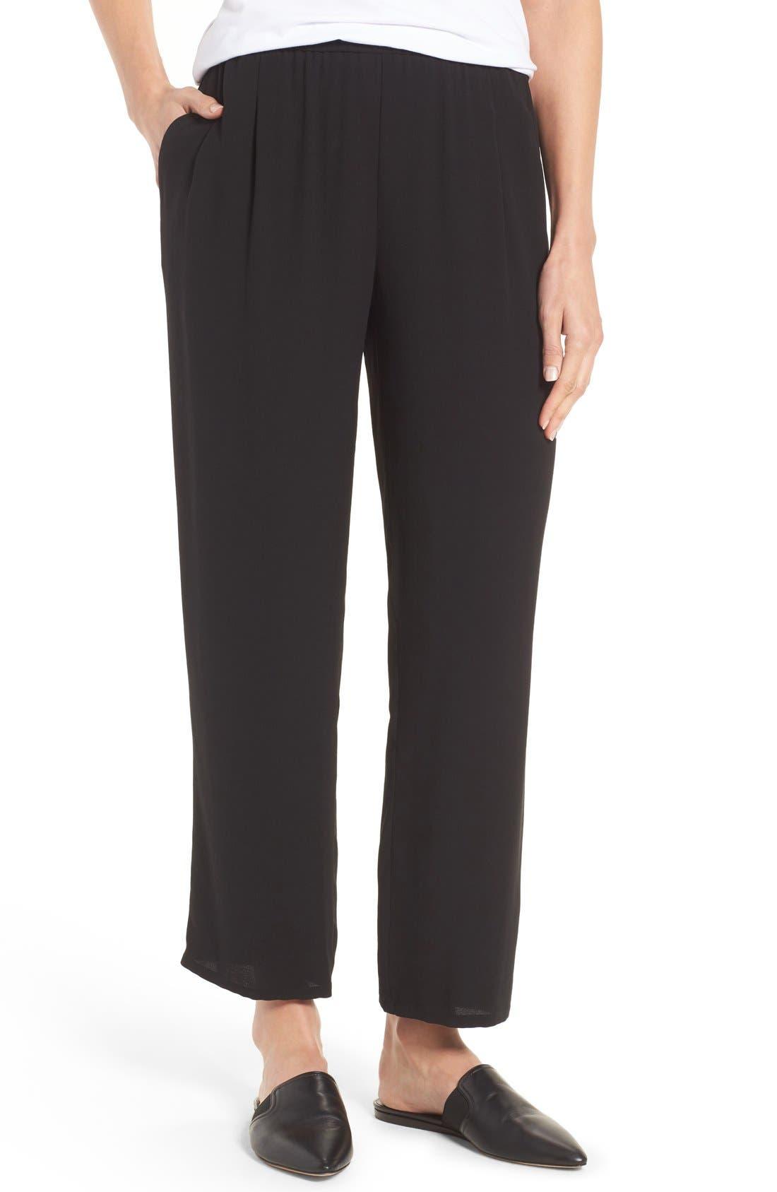 Eileen Fisher Silk Georgette Crepe Straight Ankle Pants (Regular & Petite).  BLACK; BONE