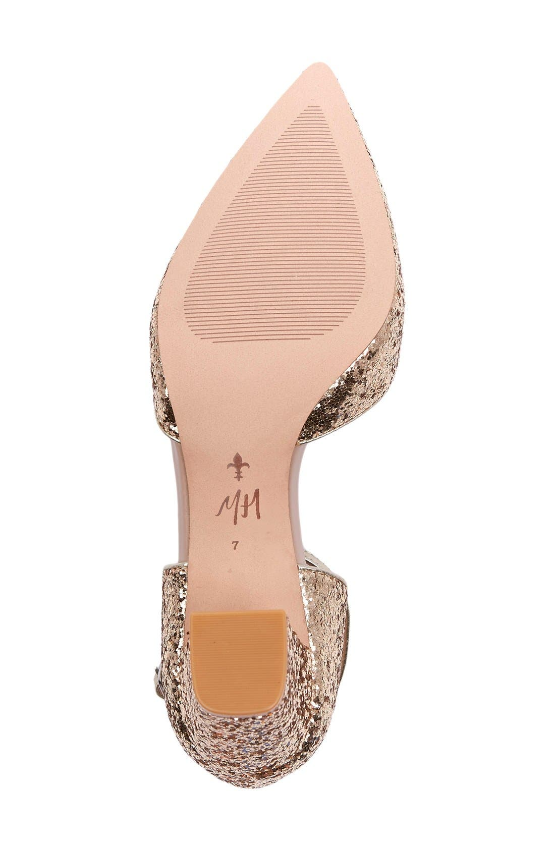 x Megan Hess Fleur-de-lis Collection Pump,                             Alternate thumbnail 4, color,                             Gold Sparkle