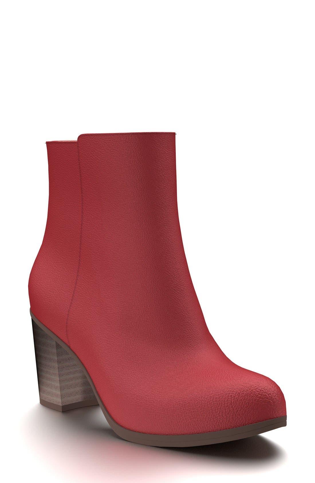 Block Heel Bootie,                         Main,                         color, Red Pebble Leather