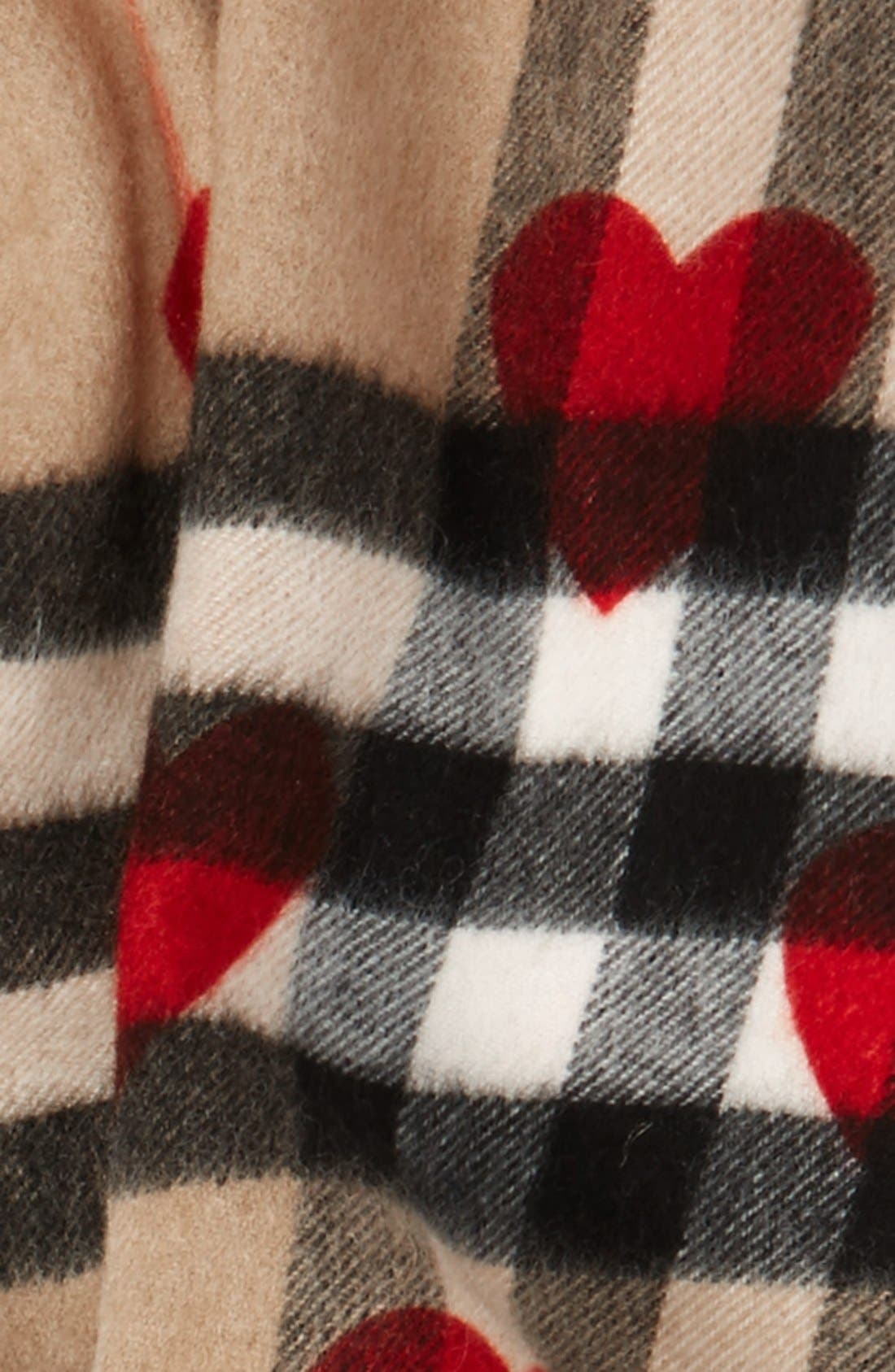 Heart & Giant Check Fringed Cashmere Scarf,                             Alternate thumbnail 3, color,                             Parade Red
