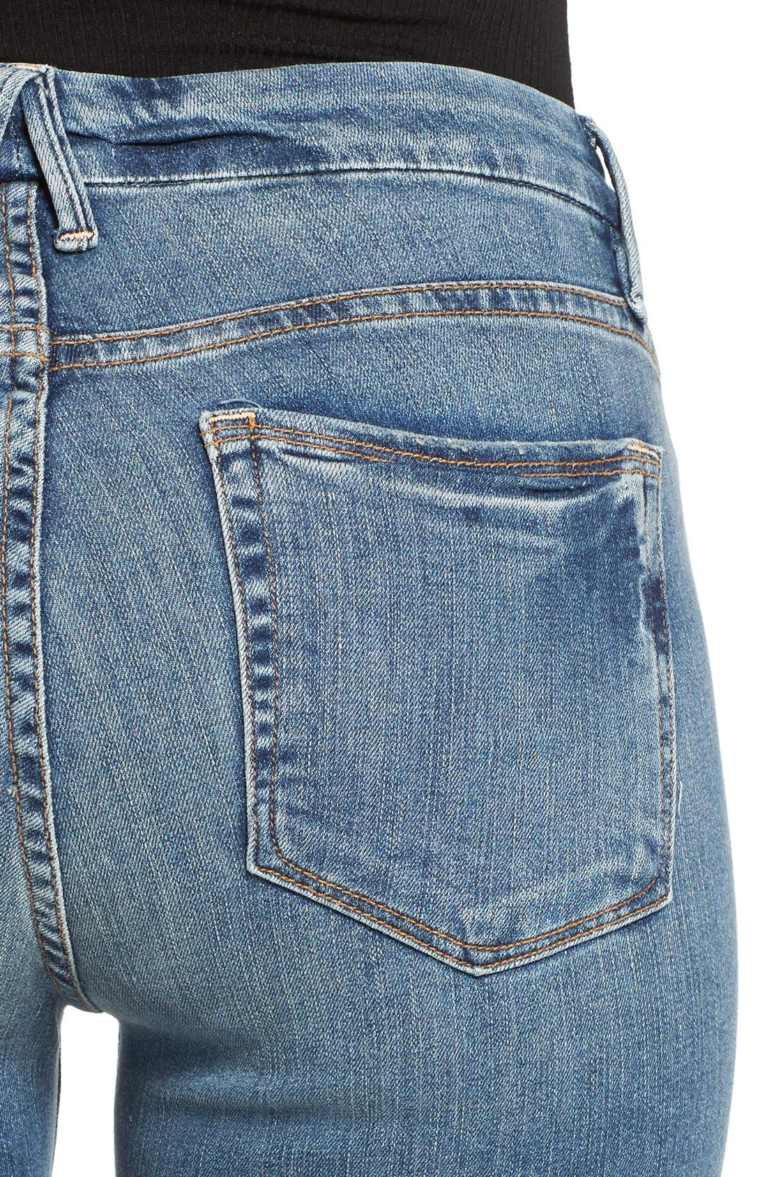 Alternate Image 4  - Good American Good Legs High Rise Ripped Skinny Jeans (Blue 006)