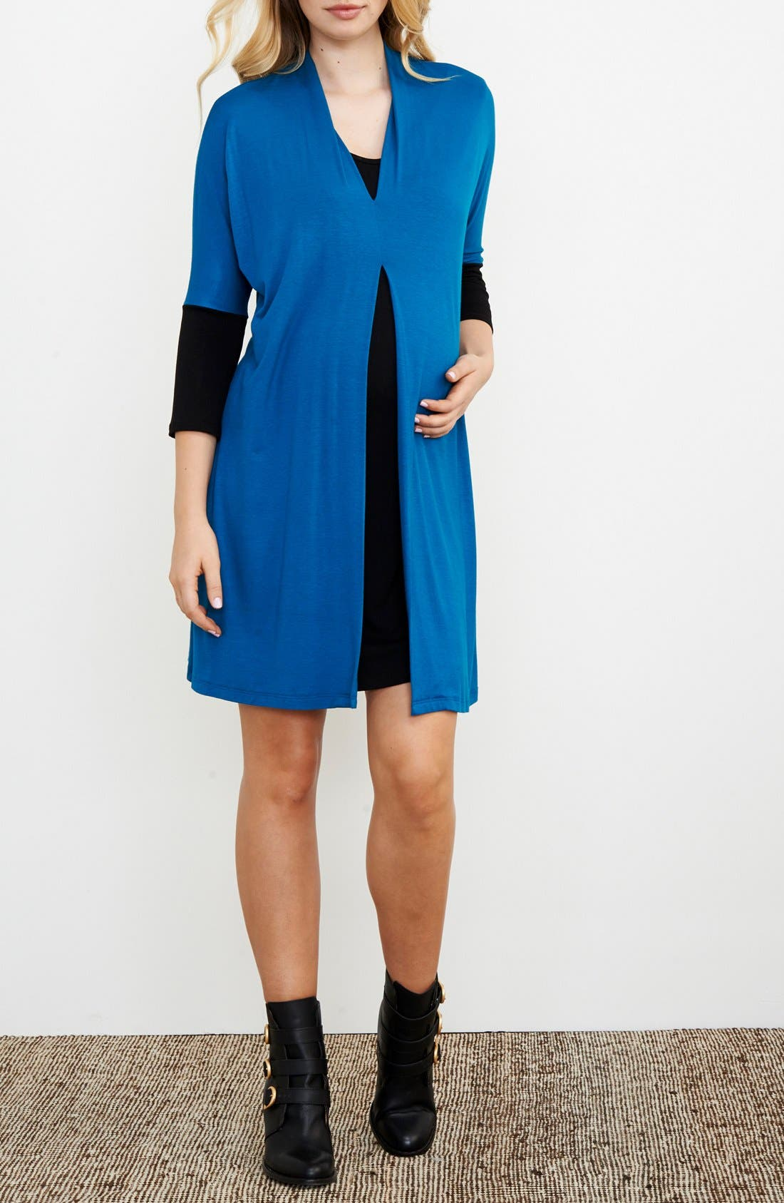 Layered Maternity/Nursing Dress,                         Main,                         color, Teal/ Black