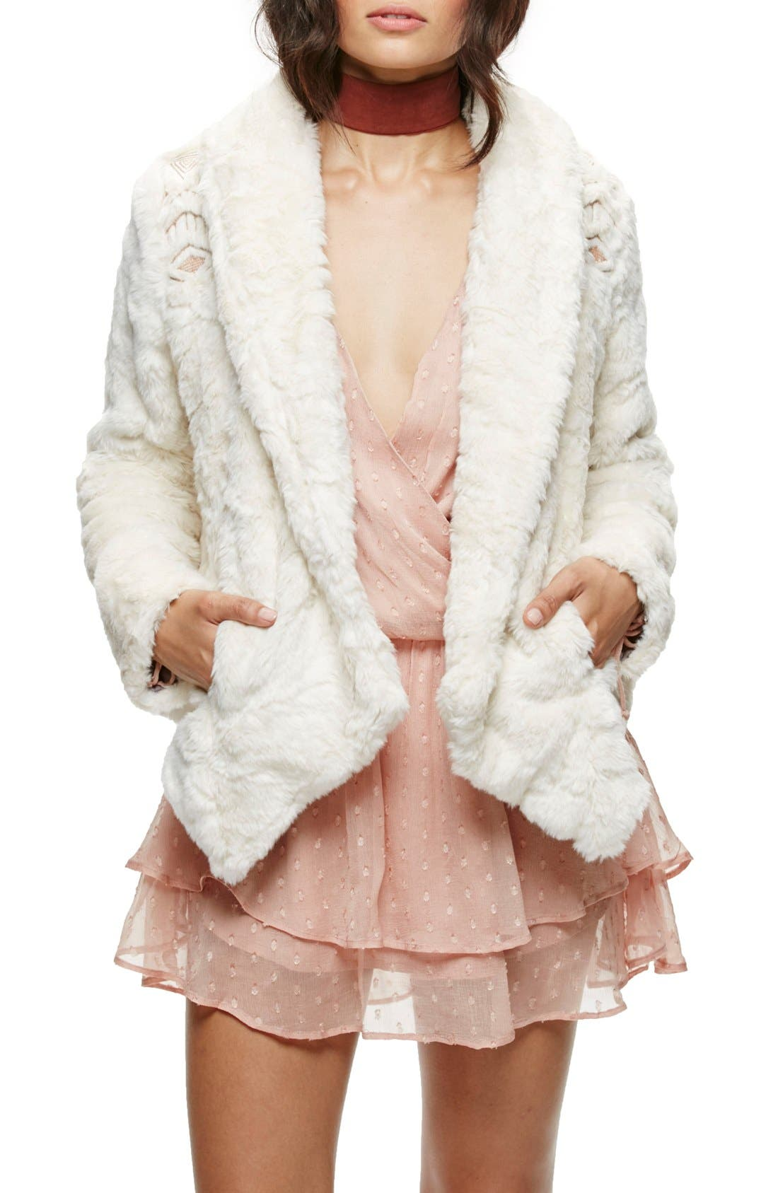 Embroidered Faux Fur Jacket,                         Main,                         color, Ivory