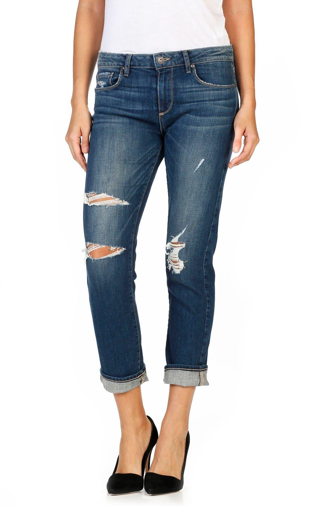 PAIGE Brigitte Crop Boyfriend Jeans (Lala Destructed) (Nordstrom Exclusive)