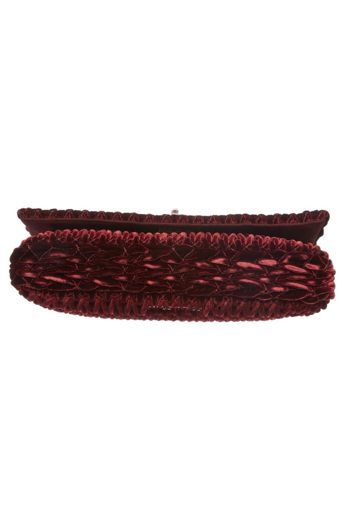 Medium Crystal Embellished Quilted Velvet Shoulder Bag,                             Alternate thumbnail 6, color,                             Bordeaux