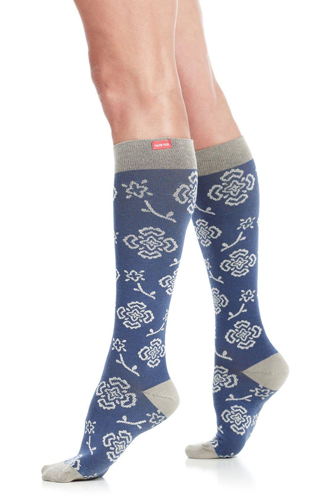 Queen's Floral Compression Trouser Socks,                             Main thumbnail 1, color,                             Blue/ Charcoal