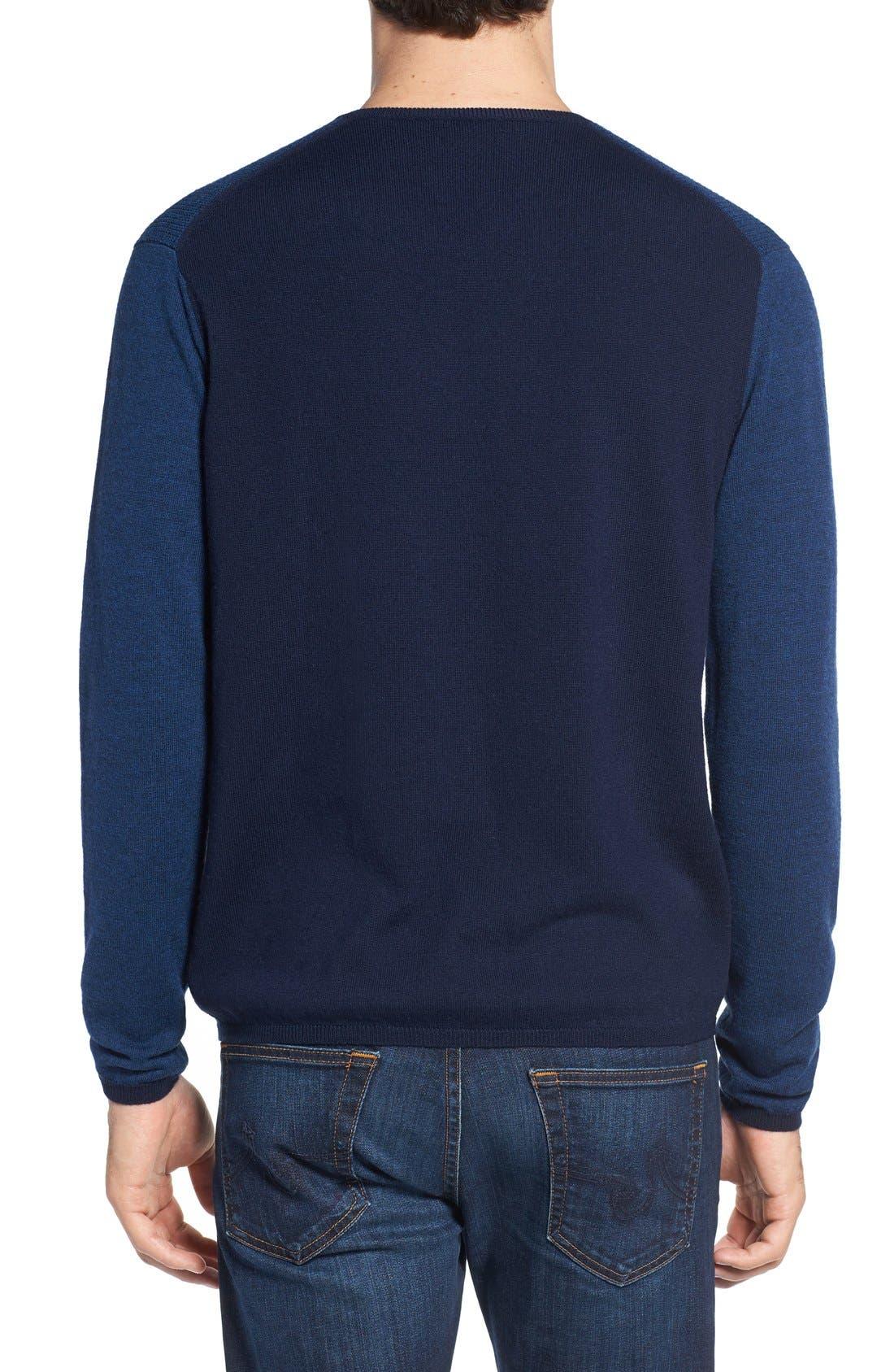 V-Neck Colorblock Merino Wool Pullover,                             Alternate thumbnail 2, color,                             Blue