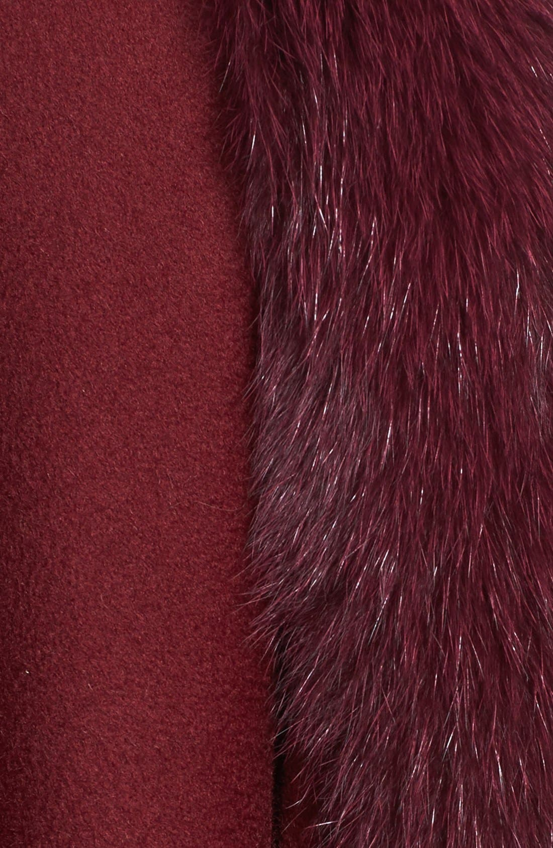 Genuine Fox Fur Trim Cape,                             Alternate thumbnail 5, color,                             Burgundy