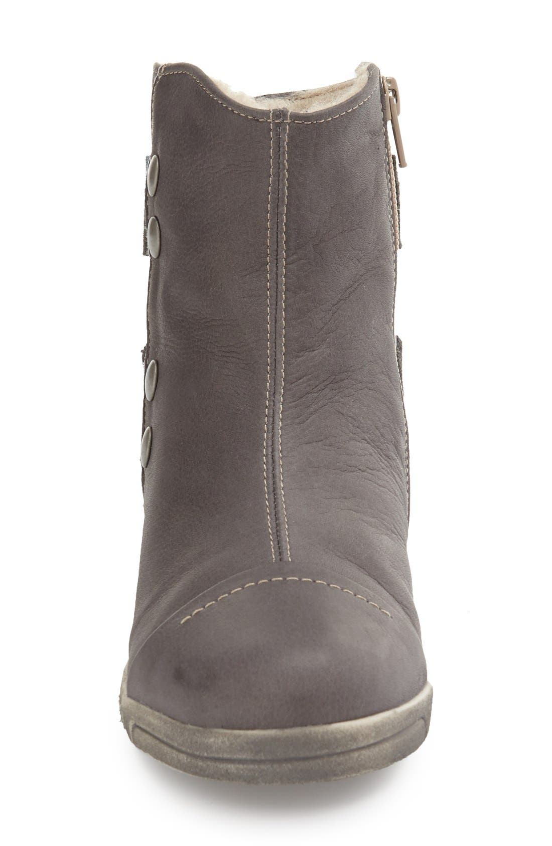 'Aline' Faux Shearling Lined Bootie,                             Alternate thumbnail 3, color,                             Dark Grey Leather