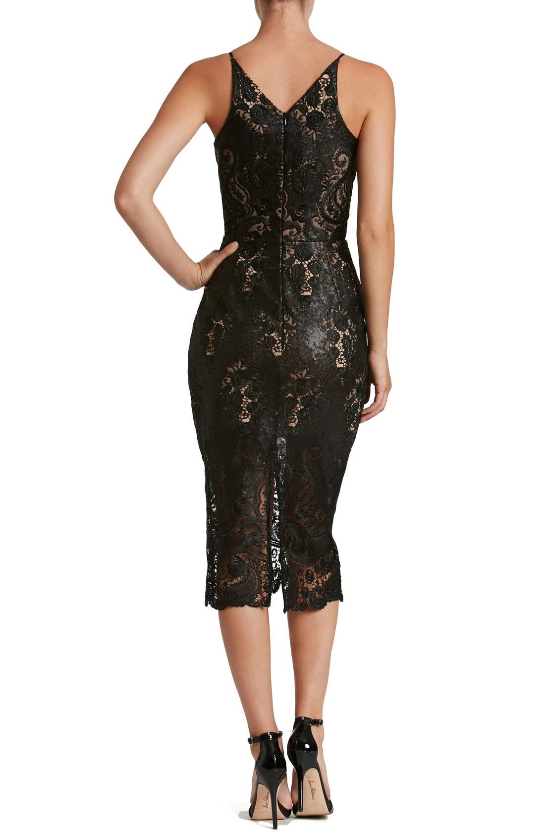Angela Sequin Lace Midi Dress,                             Alternate thumbnail 2, color,                             Black/ Nude