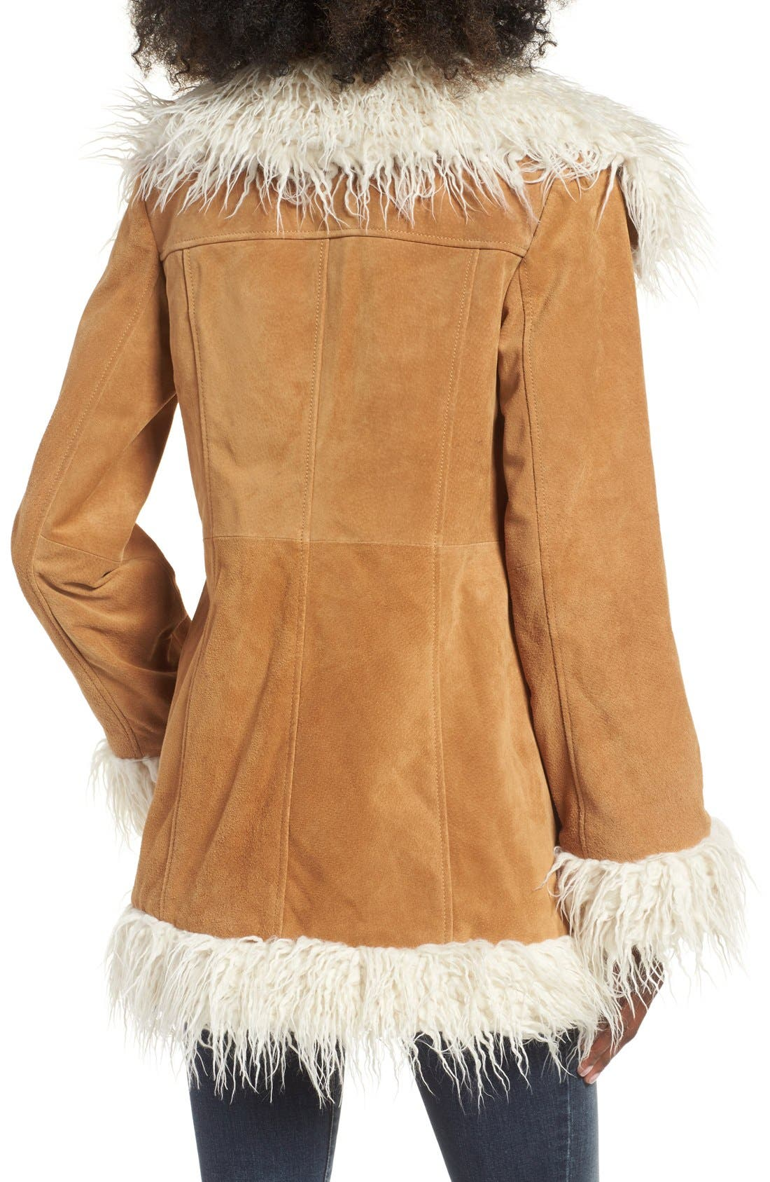 Alternate Image 2  - Sun & Shadow Suede Jacket with Faux Shearling Trim