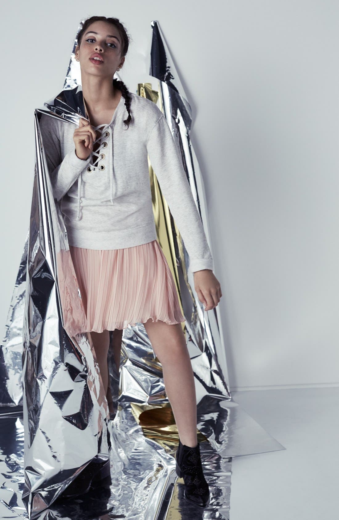 Alternate Image 2  - Lush Pleated Chiffon Miniskirt