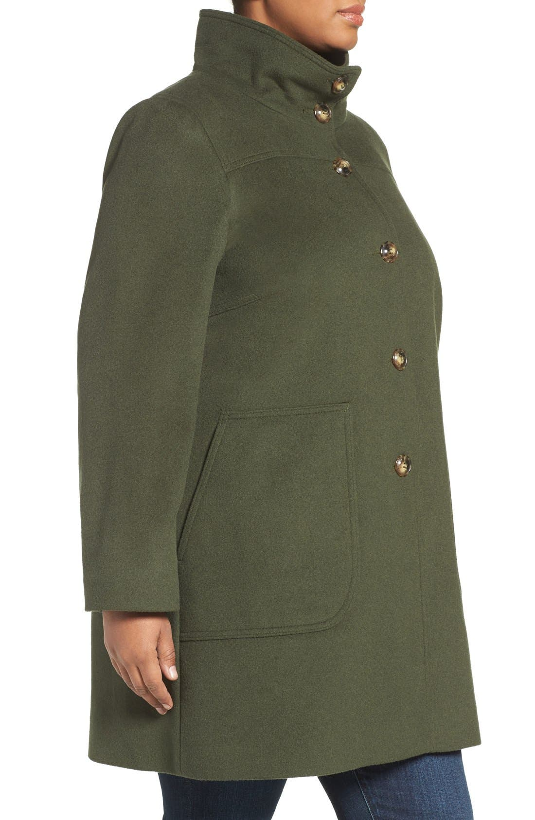 Alternate Image 4  - Kristen Blake Patch Pocket Wool Blend Topcoat (Plus Size)