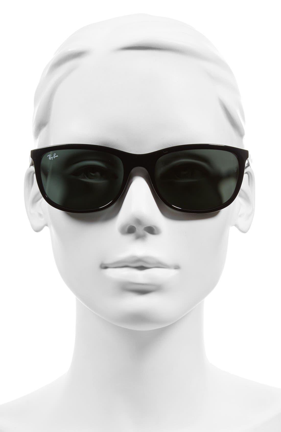 Active Lifestyle 59mm Rectangular Sunglasses,                             Alternate thumbnail 2, color,                             Black/ Green