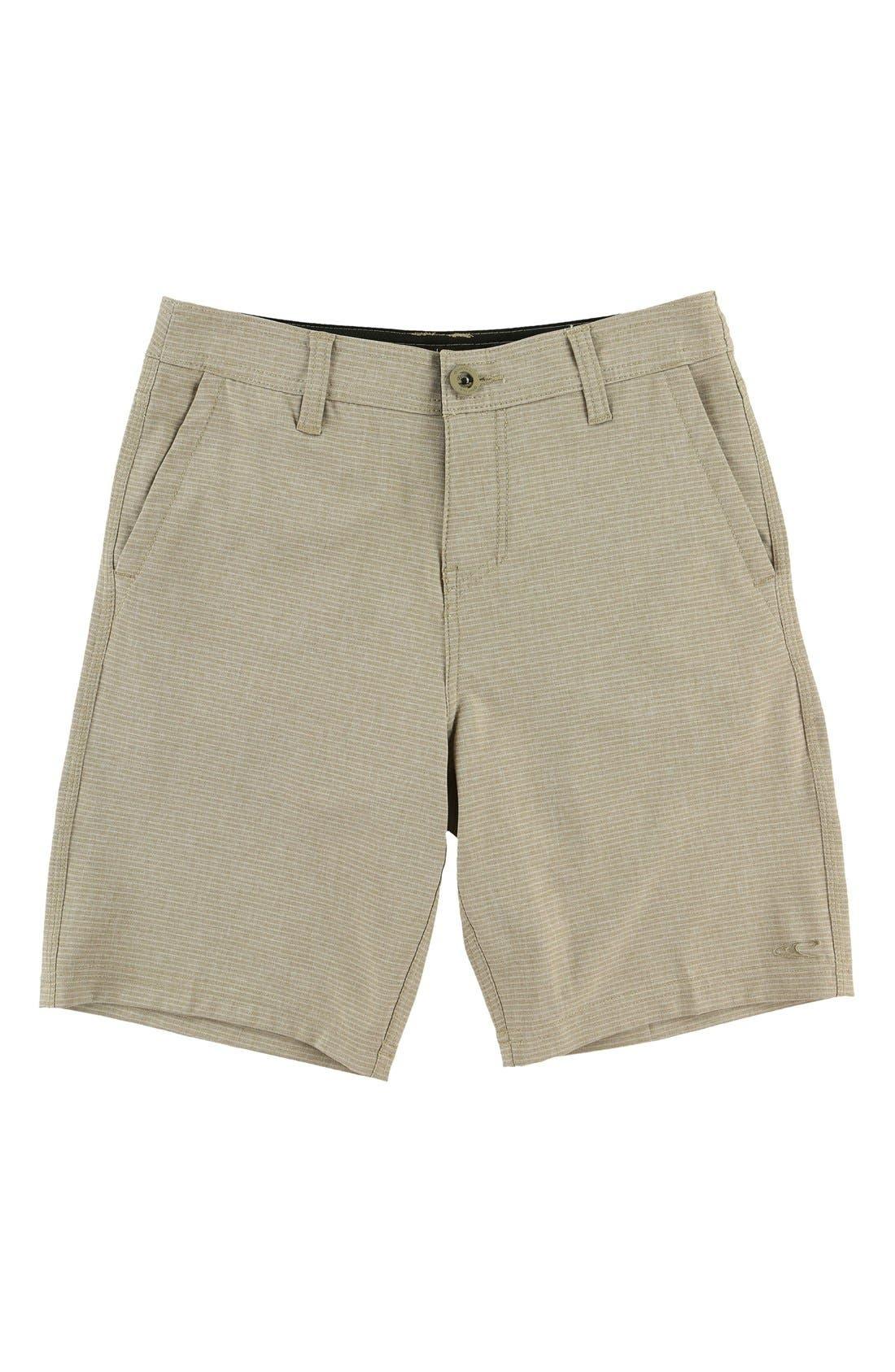 Locked Stripe Hybrid Board Shorts,                         Main,                         color, Khaki