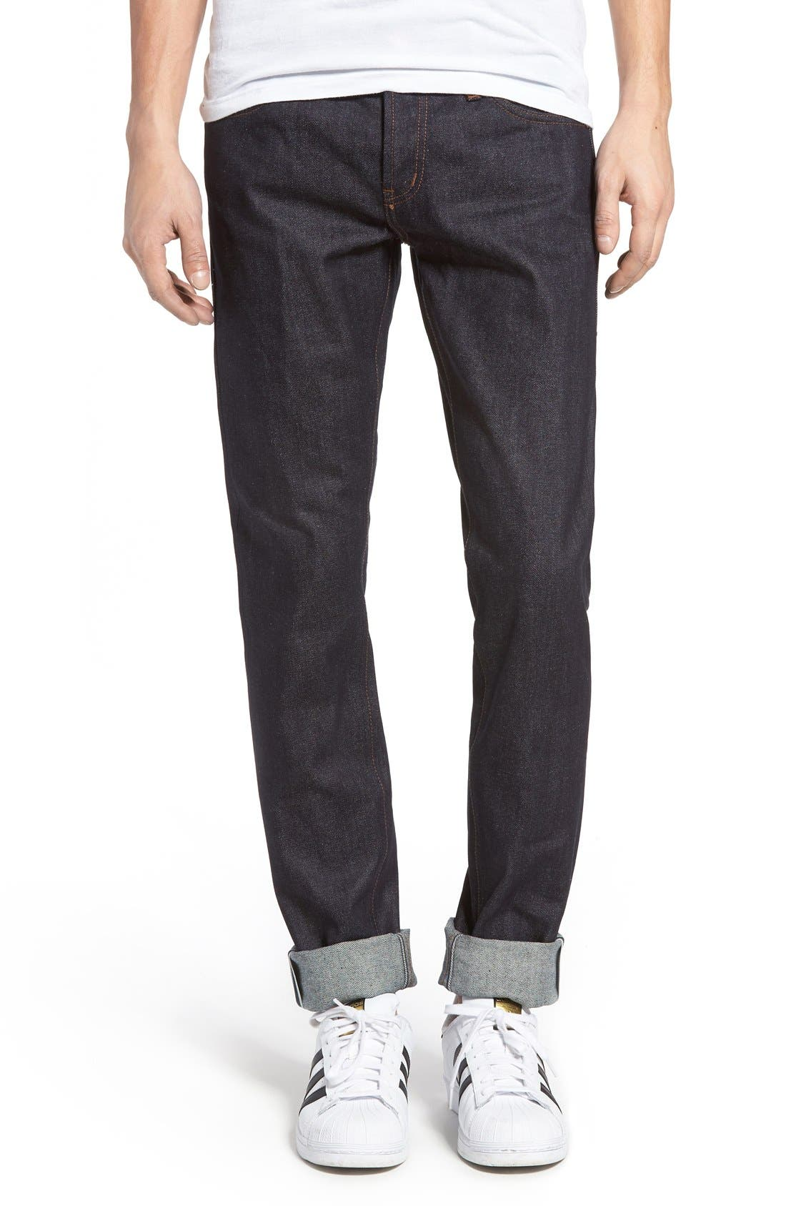 Alternate Image 1 Selected - The Unbranded Brand UB401 Selvedge Skinny Fit Jeans