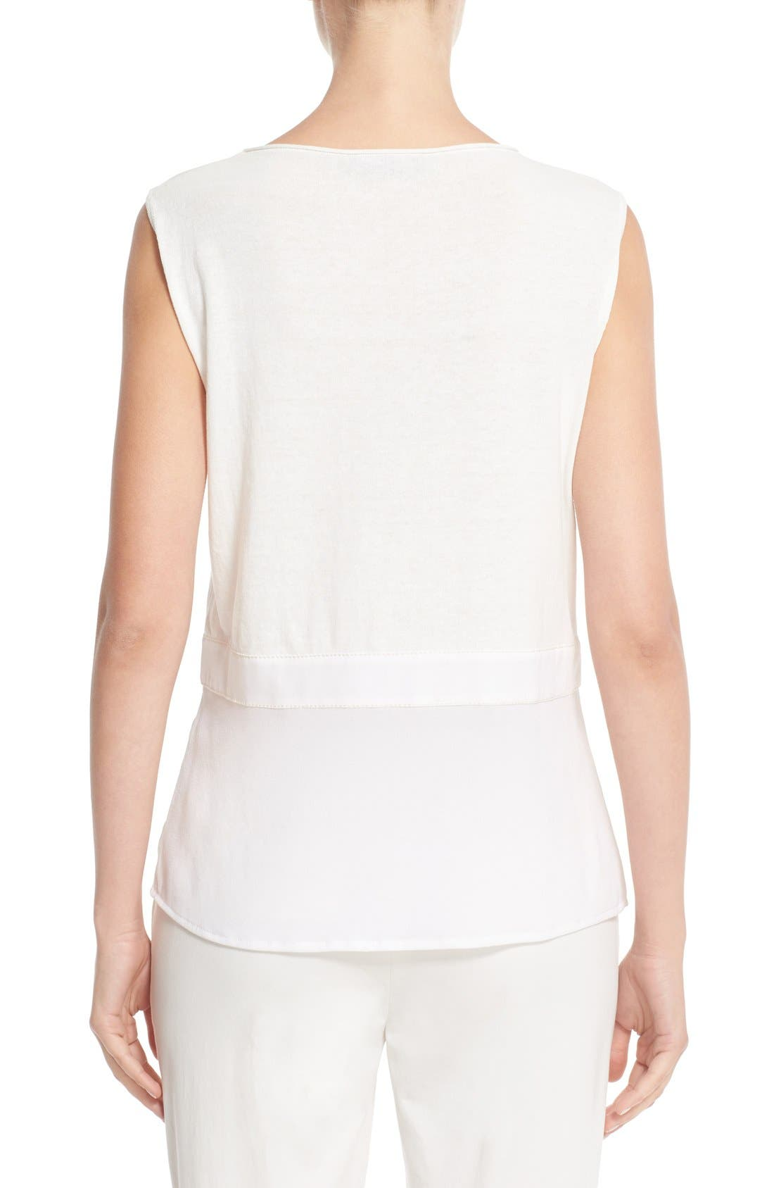 Silk Hem Cotton Tank,                             Alternate thumbnail 2, color,                             Ivory