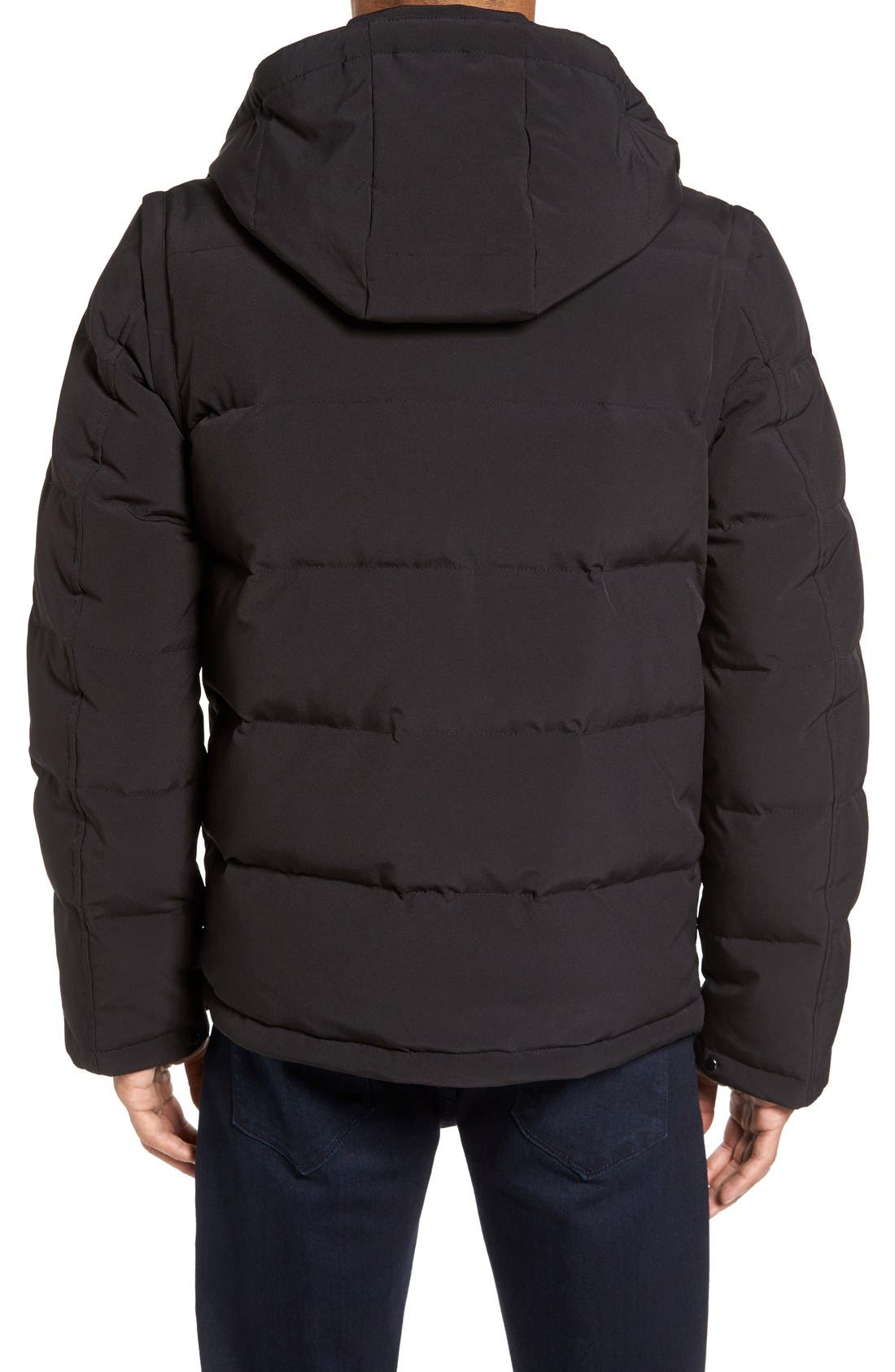 Convertible Down & Feather Puffer Jacket,                             Alternate thumbnail 2, color,                             Black