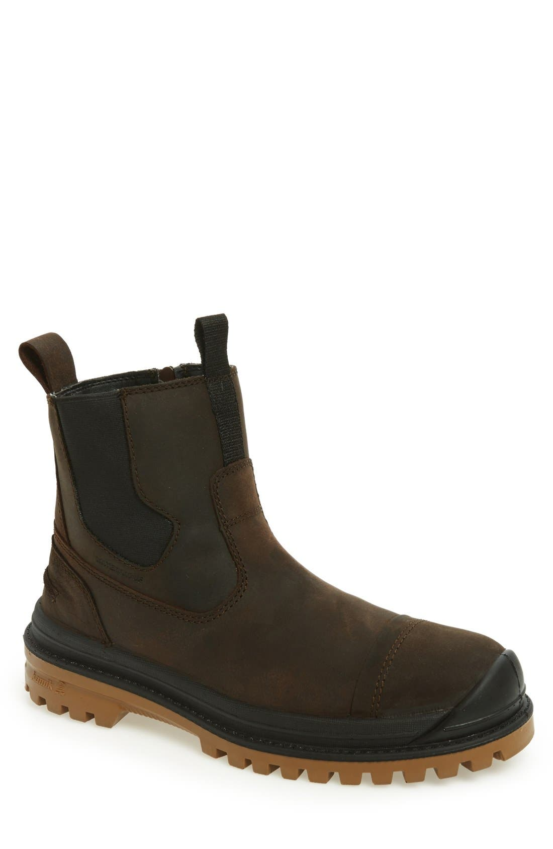 Griffon Snow Boot,                             Main thumbnail 1, color,                             Dark Brown Leather