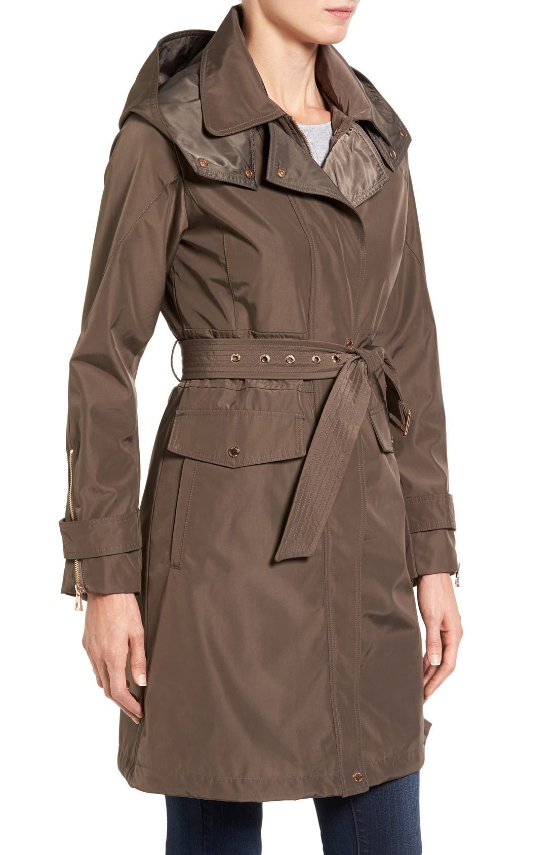 Hooded Trench Coat,                             Alternate thumbnail 3, color,                             Dark Taupe