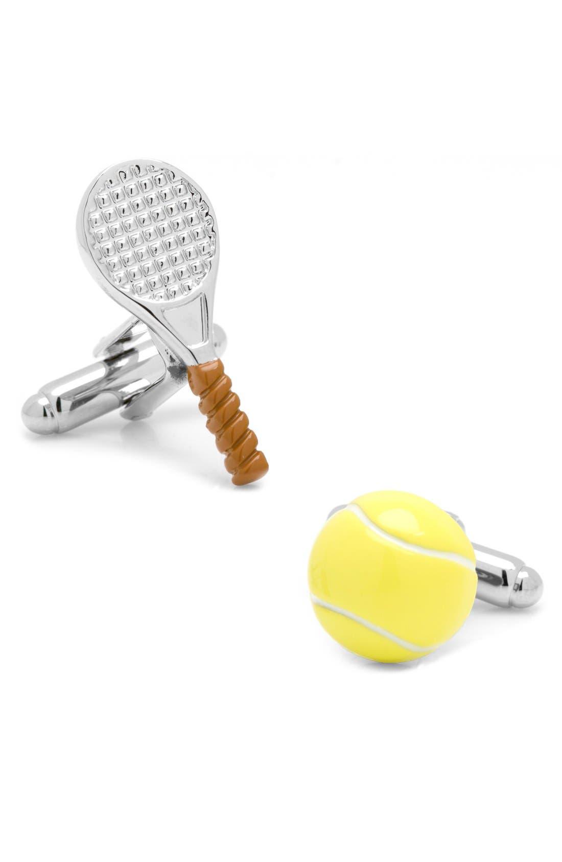 Tennis Cuff Links,                         Main,                         color, Silver Multi