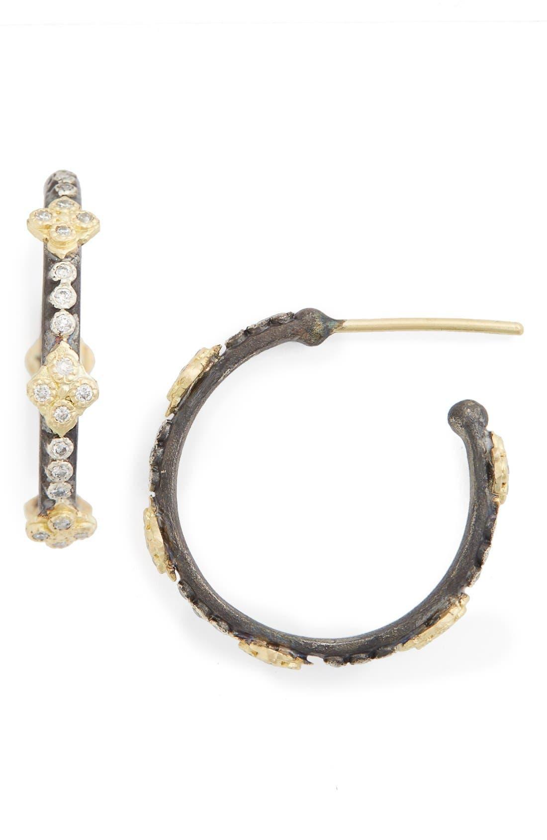 Old World Diamond Hoop Earrings,                         Main,                         color, Gold