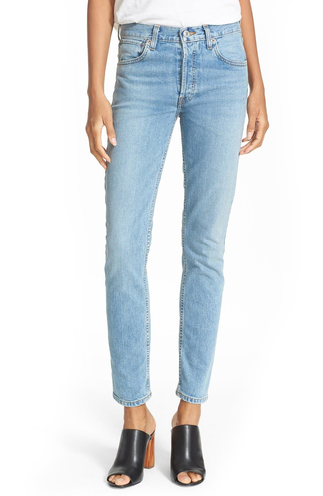 Alternate Image 1 Selected - Re/Done Originals High Waist Straight Skinny Stretch Jeans (Light)