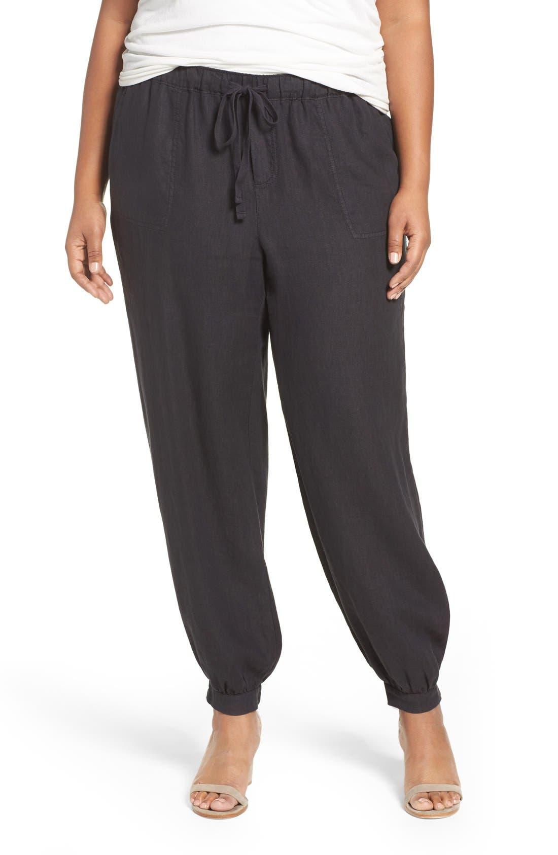 Main Image - Caslon® Linen Jogger Pants (Plus Size)