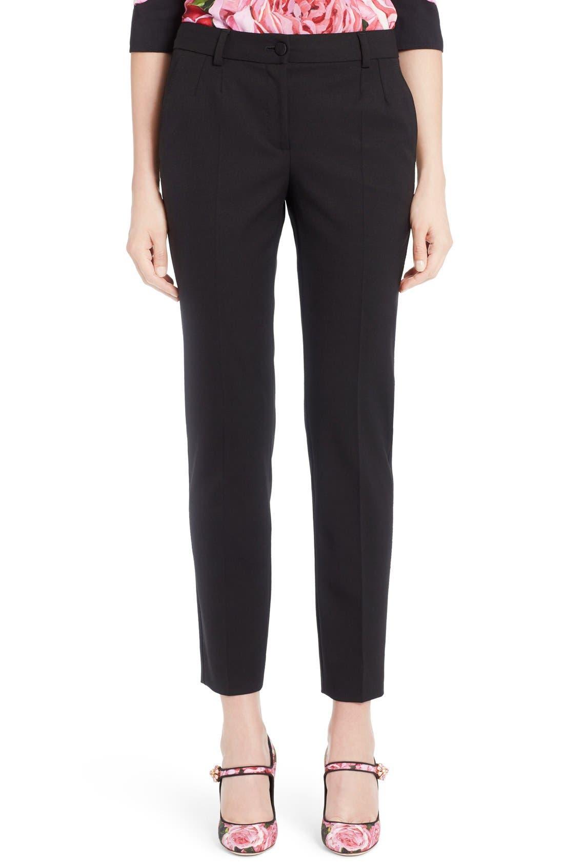 Dolce&Gabbana Stretch Wool Slim Ankle Pants