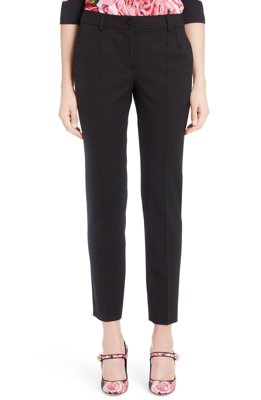 Dolce&Gabbana Stretch Wool Slim Ankle Pants
