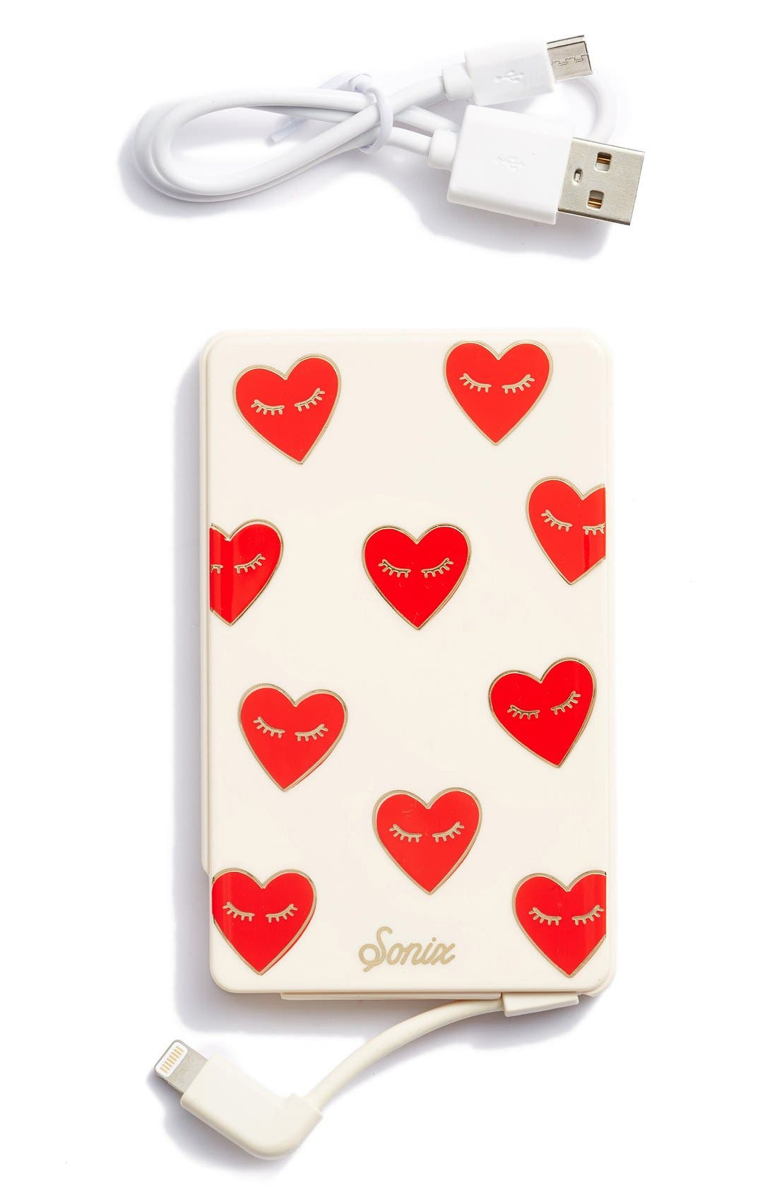 Fancy Heart Portable iPhone Charger,                             Main thumbnail 1, color,                             Red