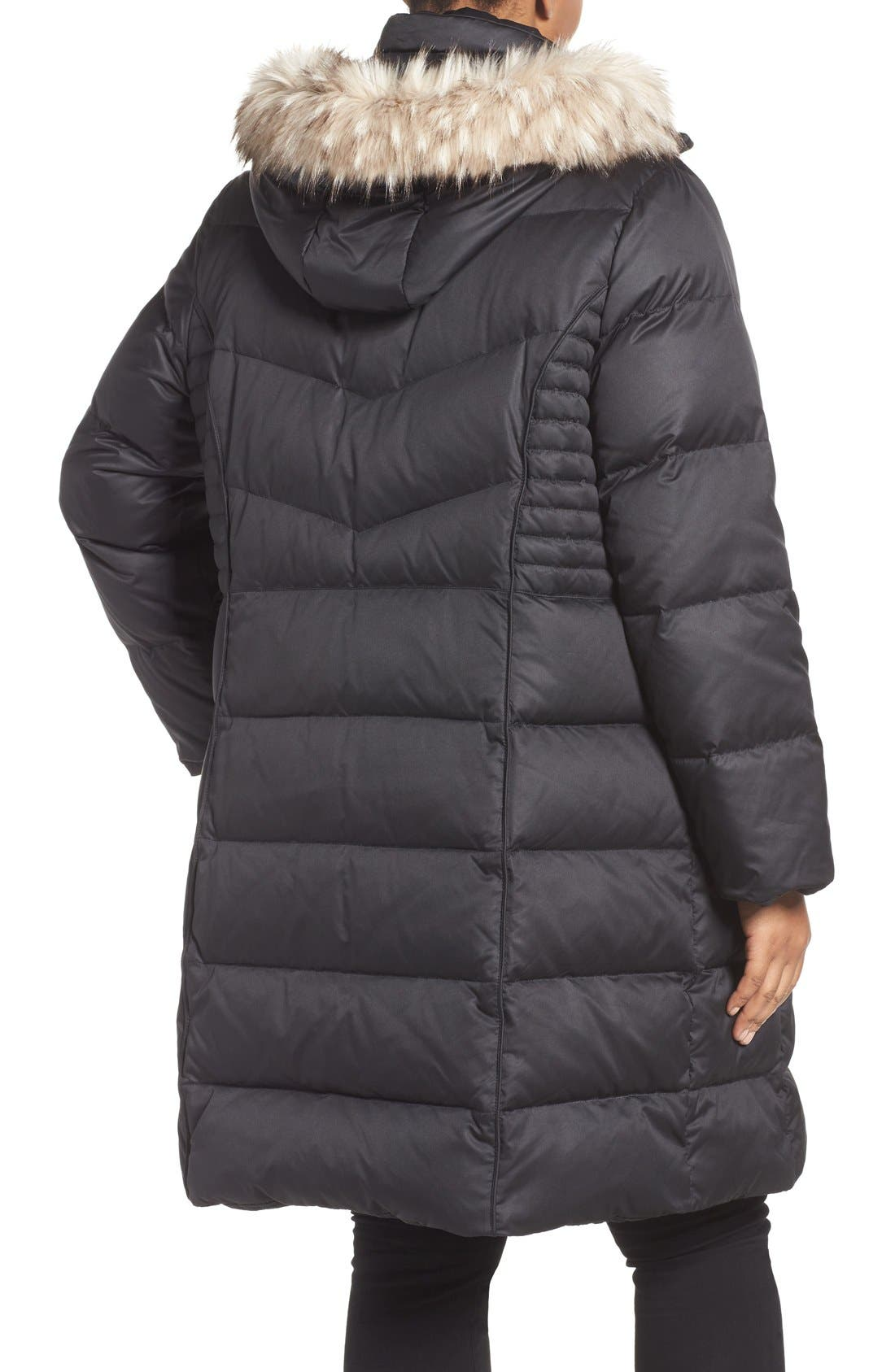 Alternate Image 2  - Ellen Tracy Faux Fur Trim Down Coat