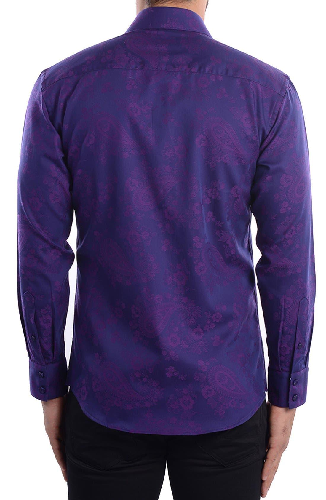 Paisley Modern Fit Sport Shirt,                             Alternate thumbnail 2, color,                             Purple