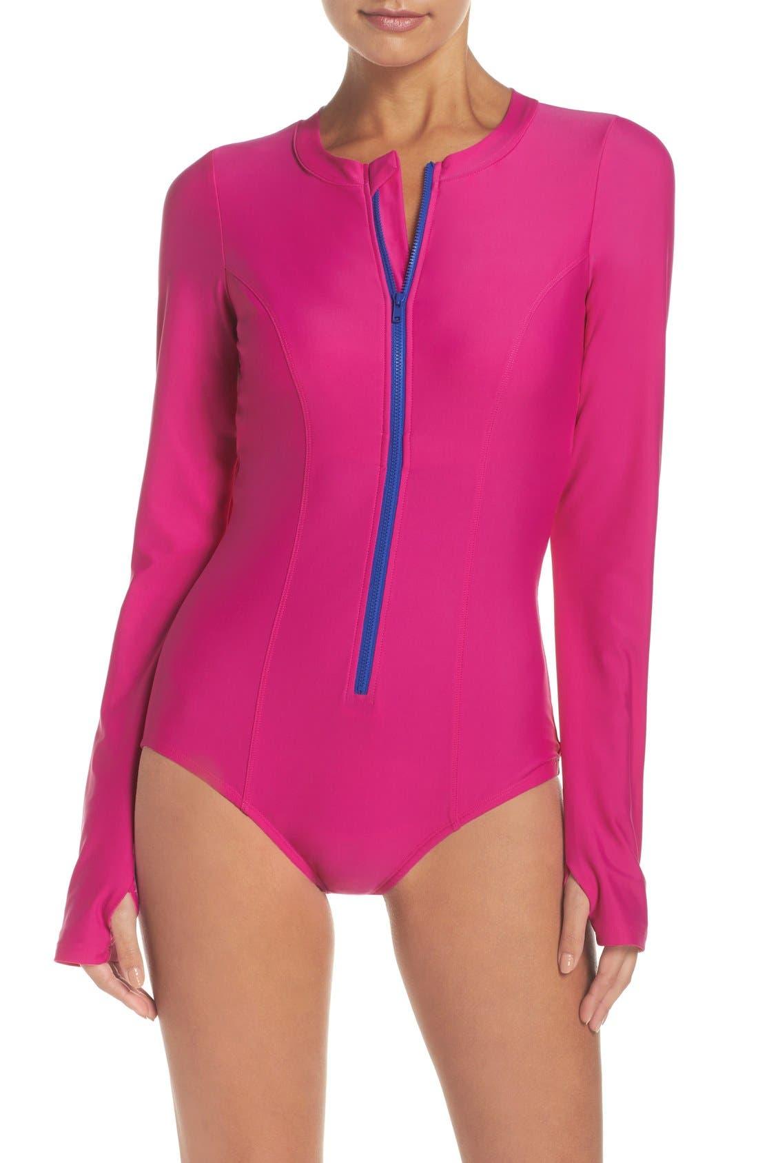 Alternate Image 1 Selected - Mott 50 Long Sleeve One-Piece Swimsuit (UPF 50)