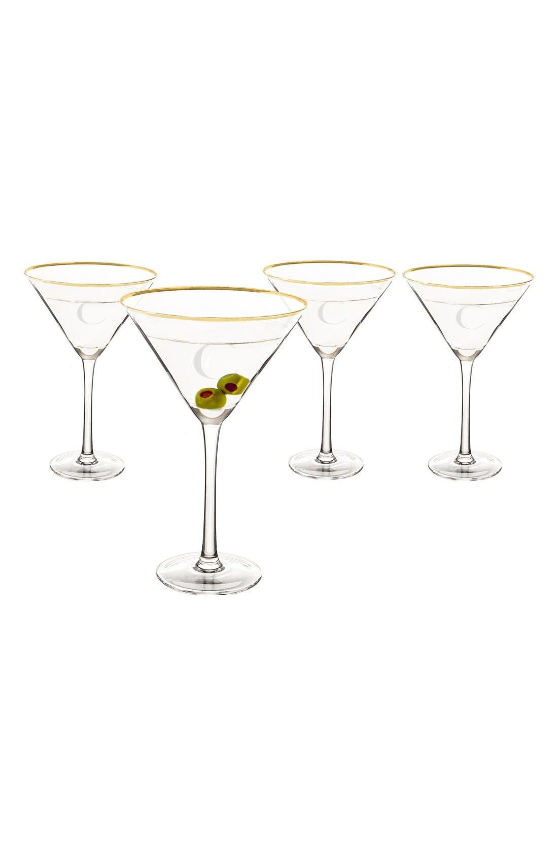 Set of 4 Gold Rimmed Monogram Martini Glasses,                         Main,                         color, C